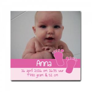 Geboortetegel baby voetjes meisje