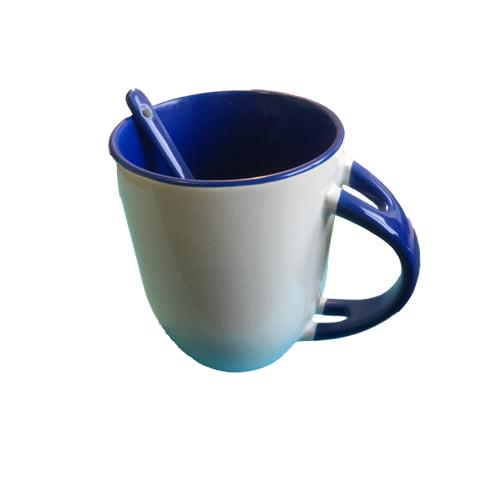Luxe koffiemok gekleurd blauw met lepel in
