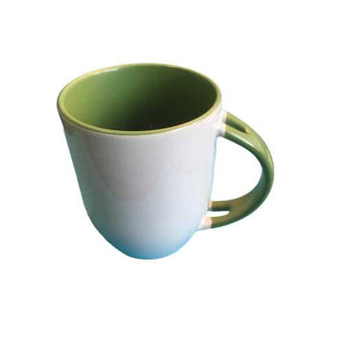 Koffiemok gekleurd groen zonder lepel