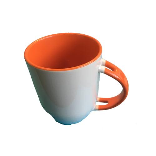 Koffiemok gekleurd oranje zonder lepel