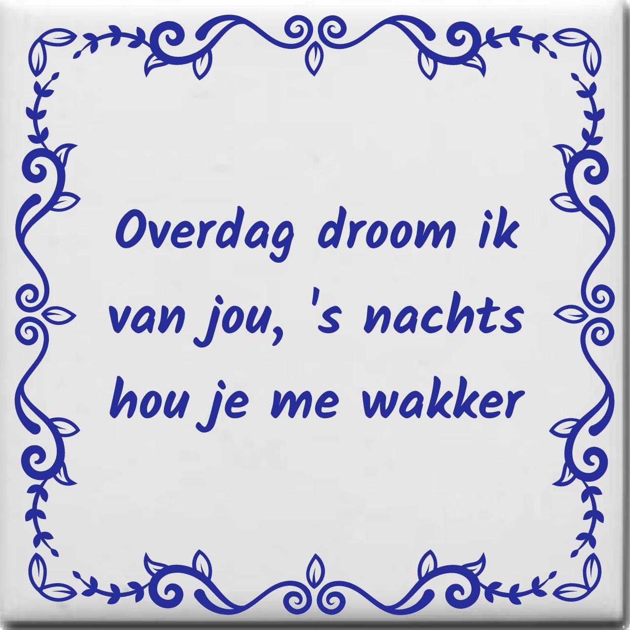Wijsheden Tegeltje Met Spreuk Over Liefde Overdag Droom Ik Van Jou S Nachts Hou Je Me Wakker