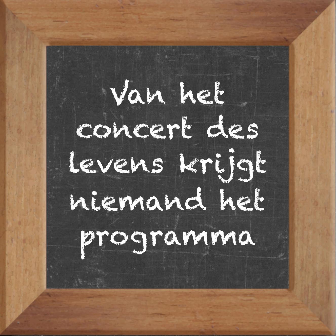 Wijsheden Op Krijtbord Tegel Over Levenspreuken Met Spreuk Van Het Concert Des Levens Krijgt Niemand Het Programma