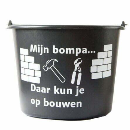 Cadeau emmer met tekst: Mijn Bompa daar kun je op bouwen